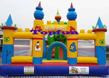 8m x 8m Custom Angry Birds Combi Bouncy Castle / Fun Run Obstacle Course