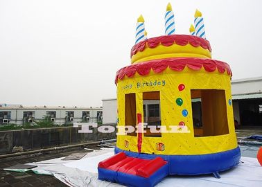 Hand Drawed Happy Birthday Cake Inflatable Bouncy Castle For Family 4m Diameter