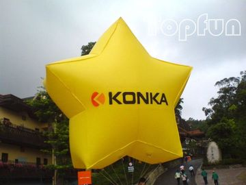 Full Color Inflatable Advertising Products , Shining Star Inflatable Helium Balloon With 2mm PVC Tarpaulin