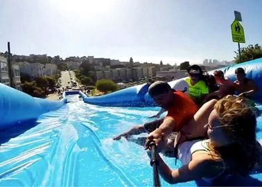 Customized 300m Inflatable Water Slide , Natural Ramp Blue Summer Water Game