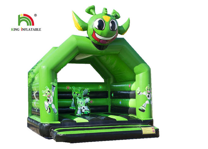 Green Commercial 2.1 Ft Astronaut Childrens Bouncy Castle / Inflatable Kids Jumping Castle