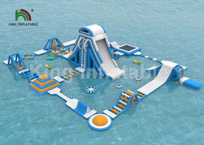 Gaint Customized Outdoor 0.9mm PVC Inflatable Floating Water Park With Cliff