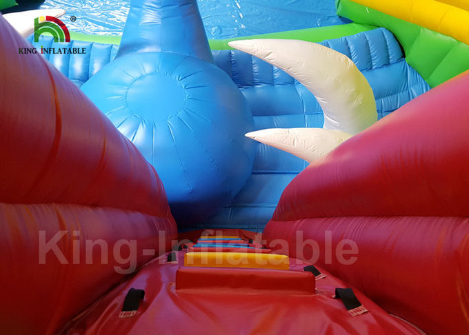 20 * 8m Red Dinosaur Jungle Round Inflatable Water Parks For Rent / Blow Up Water Pool