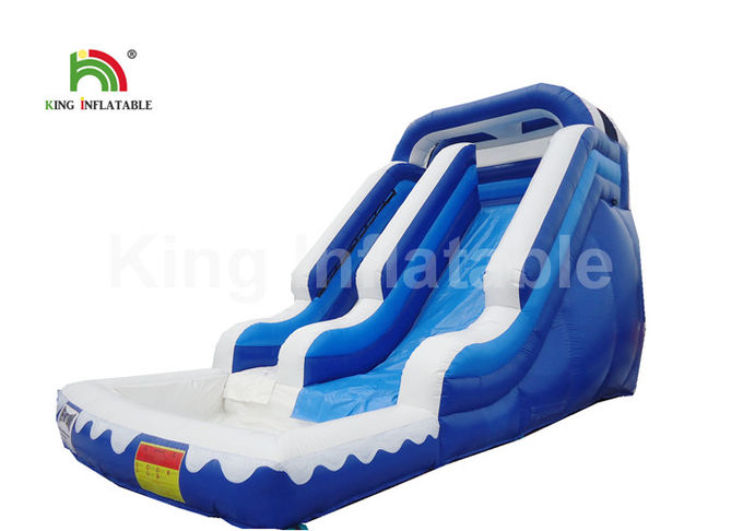 Custom White 6 * 4m Big Inflatable Water Pool Slide For Commercial