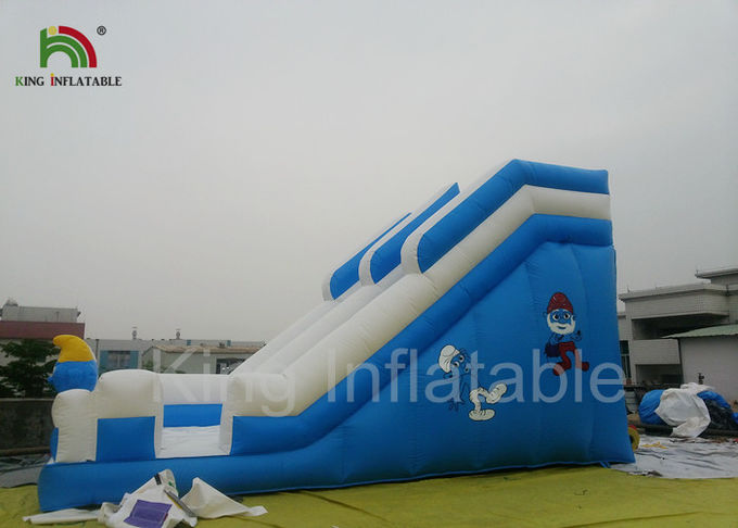 Blue Crazy Fun Surf Inflatable Dry Slide With Digital Printing , Inflatable Dry Slide