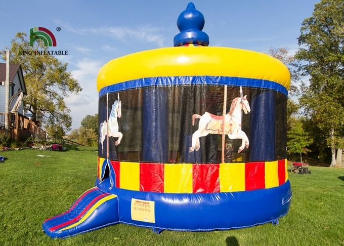 Commercial Carousel Inflatable Jumping Castle , Inflatable Dome House With Step