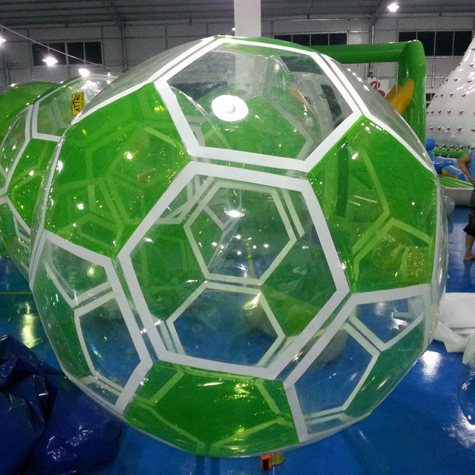 1.0mm PVC White / Green Inflatable Walk On Water Ball